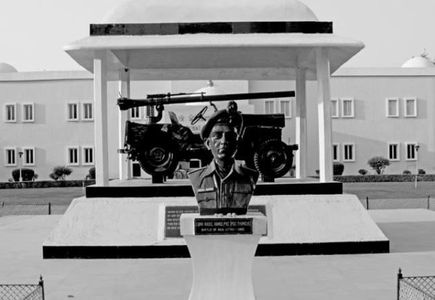 IMAGE: The bust of Company Quarter Master Havildar Abdul Hamid at the Grenadiers Regimental Centre. Photograph: Kind courtesy, 1965-Stories from Second Indo-Pak War by Rachna Bisht Rawat.